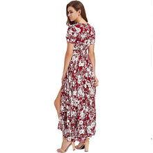 Bohemia Floral Print Long Women Dress Beach Ladies Sexy Summer Button Boho Maxi Dress Vintage Party Dresses LDW1026