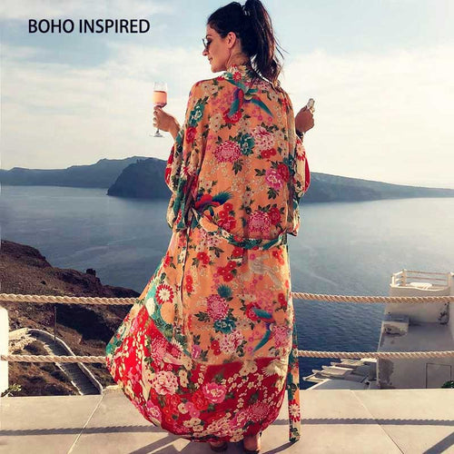Boho INSPIRED Vintage Kimono Cardigan Ladies 2019 Summer Long Kimono Loose Floral Printed Tops Rayon Sashes Wrap Blouses Shirts