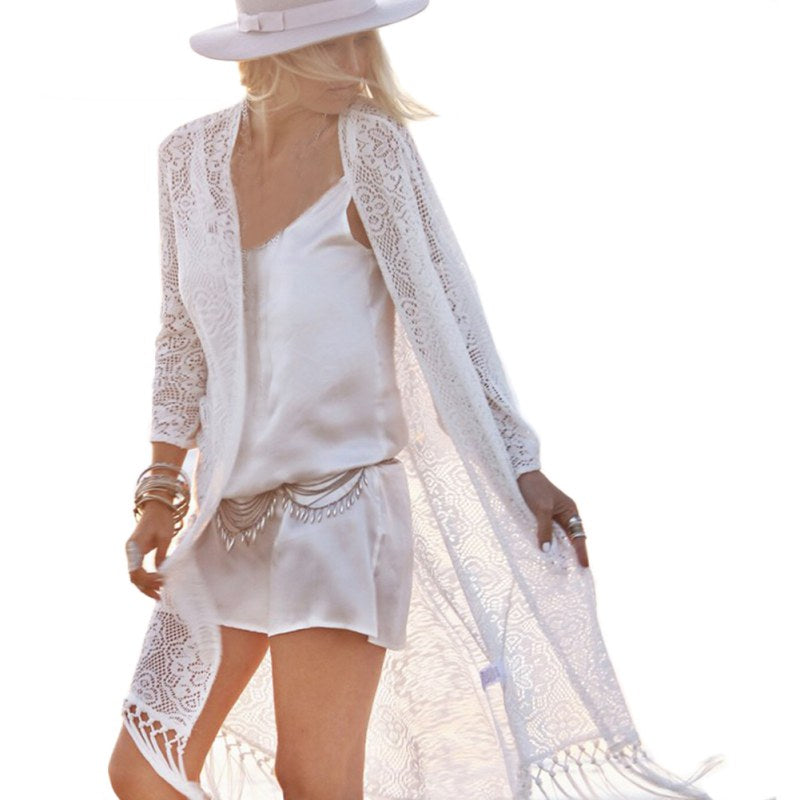 Boho Women Fringe Lace kimono cardigan White Tassels Beach Cover Up Cape Tops Blouses blusas mujer de moda 2018 women tops
