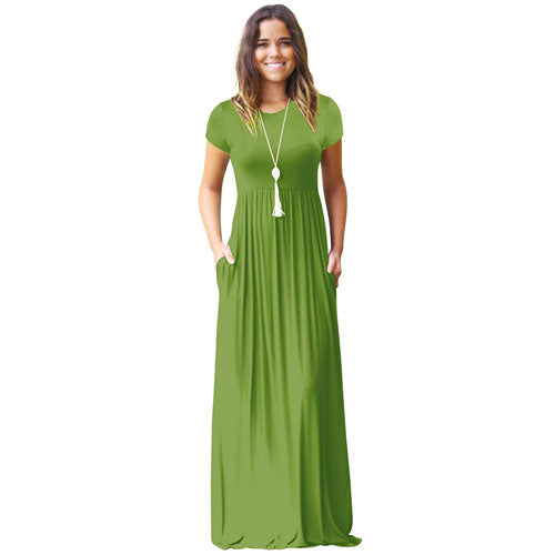 Casual Long Summer Dresses For Women 2018 Short Sleeve Pocket Floor Length Maxi Dress Women O Neck Solid Dress Female Vestidos