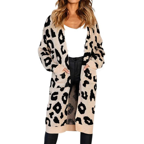 Daylook Leopard print knitting long cardigan women 2018 Autumn winter sweater female Pockets split sweater cardigan outwear