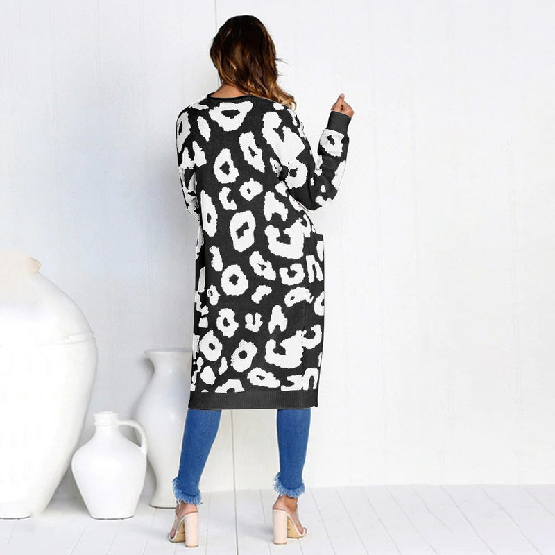 Leopard print knitting long cardigan women  Autumn winter sweater female Pockets split sweater cardigan outwear