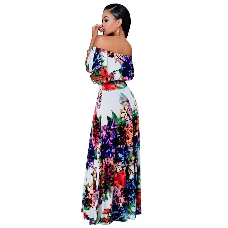 Summer Dresses Party Gowns Sexy Womens Multi-color Floral Print Off-the-shoulder Maxi Dress Vestidos Largo LC61263