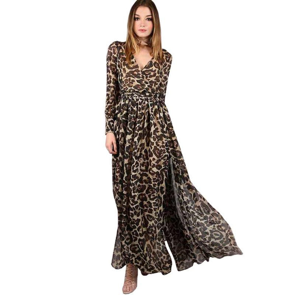 Fashion Autumn Chiffon Long Dress Women Clothing Sexy Deep V Long Sleeve Leopard Print Streetwear Maxi Dress Vestidos
