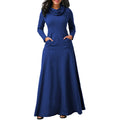 Elegant Women Slim Long Sleeve Maxi Dress Full Length Collar Party Casual Long Dresses H9