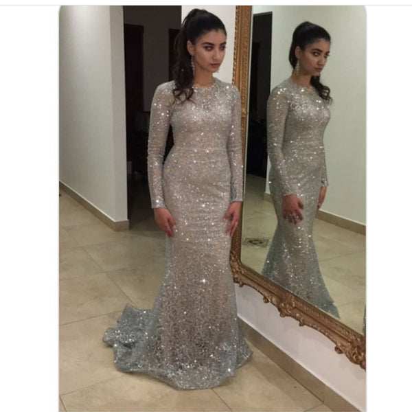 Fashion Full Sleeved Sexy Silver Glittered Party Dresses Hollow Out Maxi Dress Celebrity Floor Length Evening Gown Women Dress