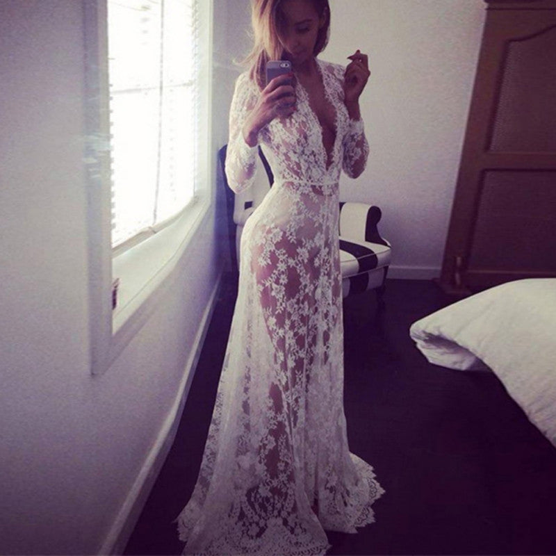 Fashion Summer Women Lace Floral Boho Long Maxi Dress Hollow Out Long Sleeve V Neck Dresses Plus Size S-XXL New