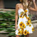 Fashion Women Boho Casual Strappy Sundress Bandage Swing Beach Sunflower Print Slim Short Mini Cami Dress