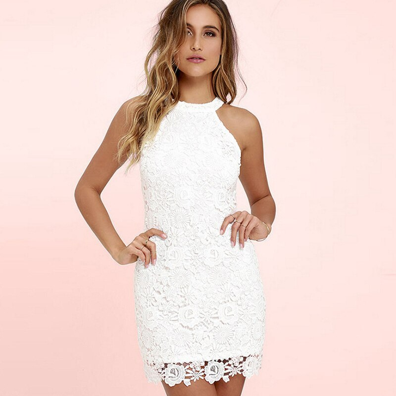 Fashion Women summer Lace mini dress Sleeveless halter off shoulder sexy casual Bodycon pencil Mini Dress