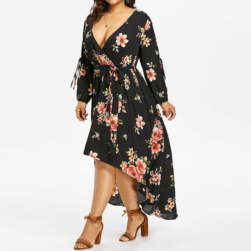 Cold sleeves boho dress women Sexy cut out asymmetric casual dress V neck sash wrap floral black dress autumn 2019