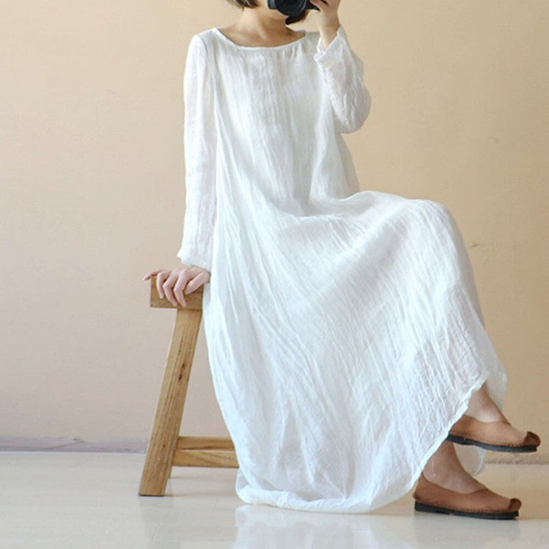 Cotton white long maxi dress women Elegent long sleeves line long dress Cotton solid causal dress shirt 2019