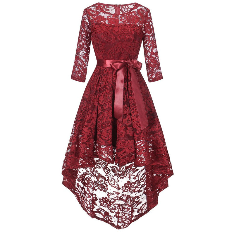 Half sleeve o neck women dress Sexy lace embroidery autumn winter dress Loose pink casual dress streetwear Dress