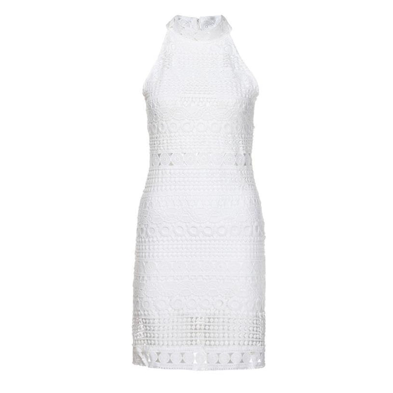 Turtleneck bodycon lace dress women Hollow out casual dress white Summer style short dress female sexy vestidos