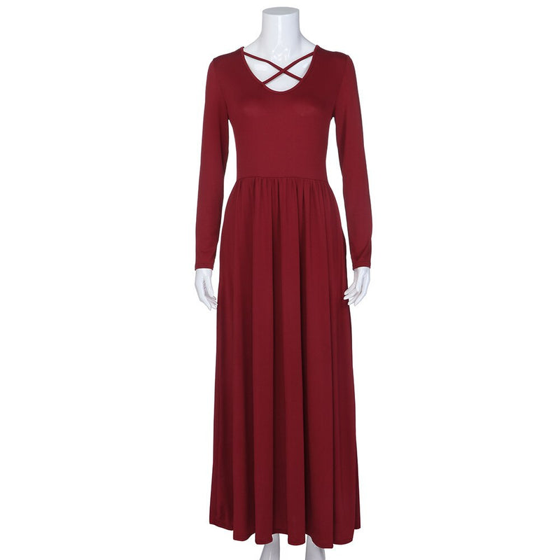Women cross v neck long dress Casual solid color dress women vestidos Autumn winter pocket slim maxi dress female