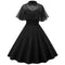 GAMISS Vintage Summer Pin Up Dress With Sheer Mesh Cape Party Dress Vestidos Peter Pan Collar Short Sleeve A-Line Swing Dresses