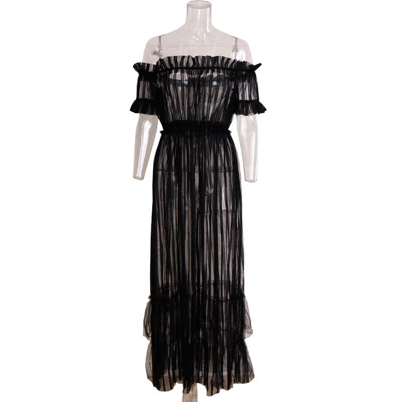 Off Shoulder Maxi Dress Sheer Mesh Long Women Dresses Summer Dress See Through Frill Night Club Sexy Party Dress