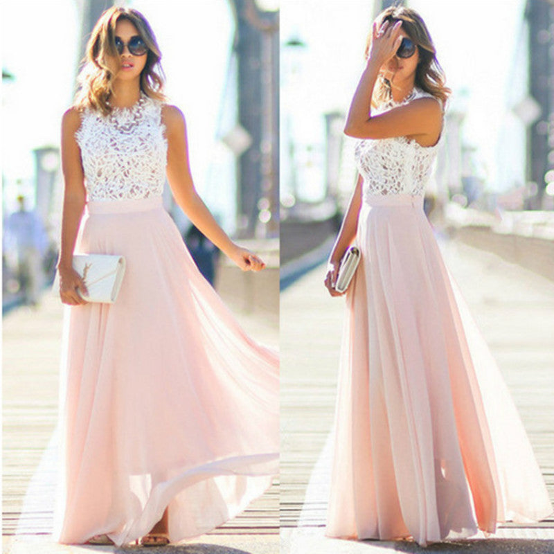 Summer Lace Hollow Hollow Out Beach Dress Womens Evening Party Sleeveless Maxi Dress Long Dresses