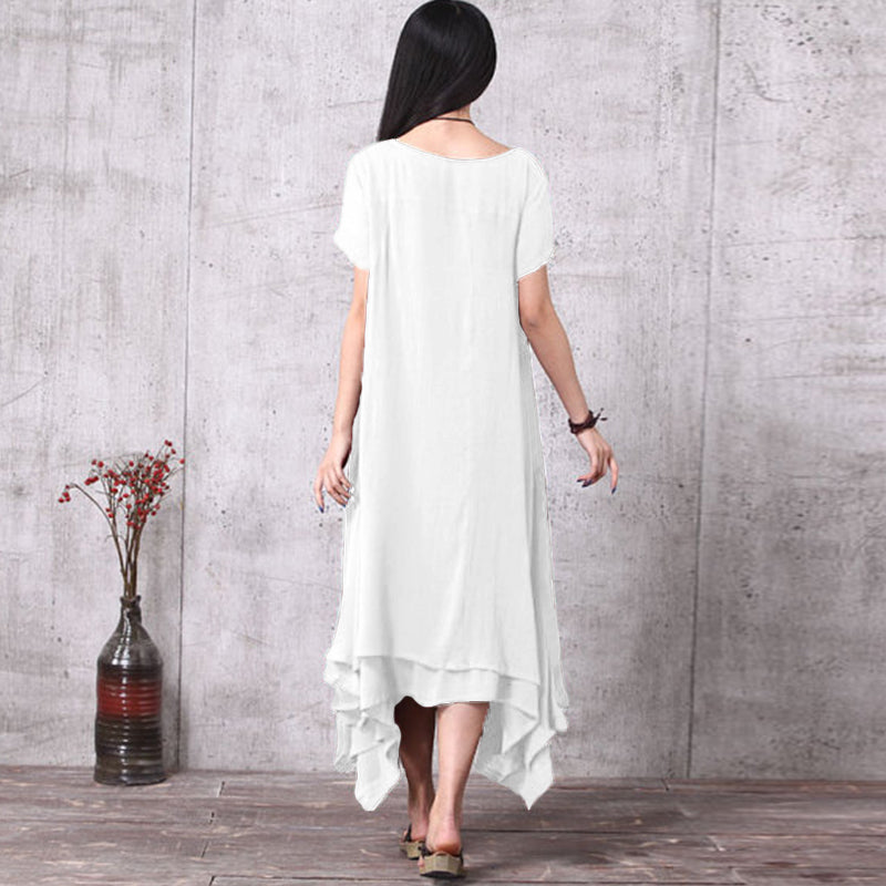 Celmia Plus Size Summer Dress 2018 Women Short Sleeve Dress Cotton Linen Long Maxi Dresses Casual Loose Vintage Solid Vestido