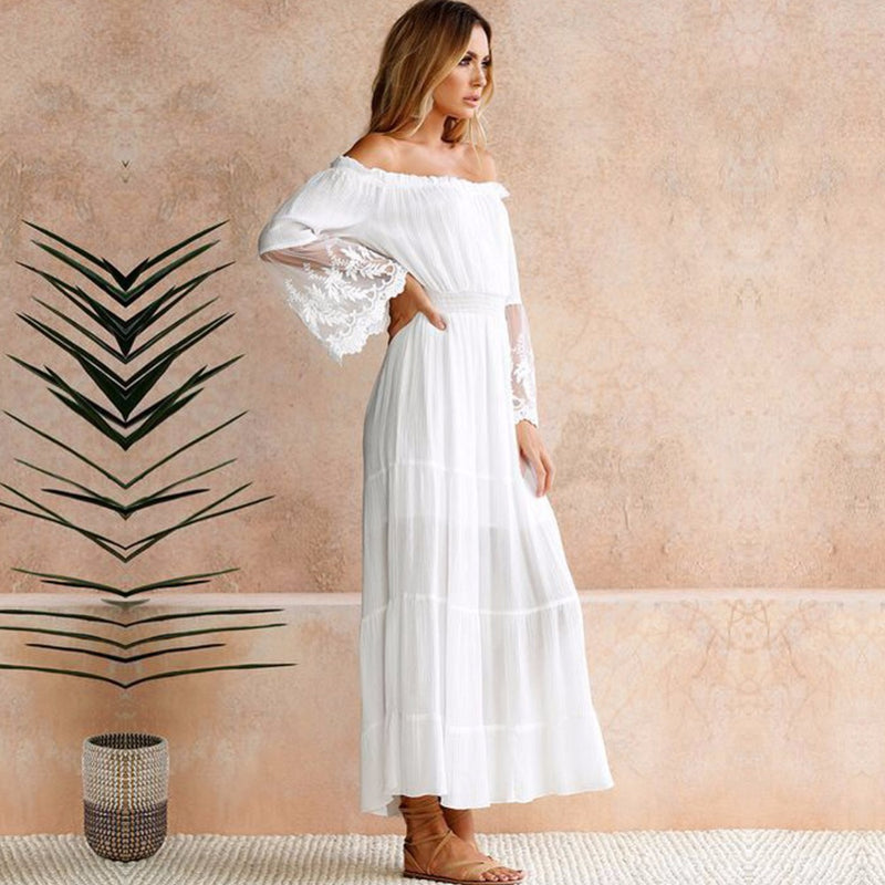 Summer Sundress Long Women White Beach Dress Strapless Long Sleeve Loose Sexy Off Shoulder Lace Boho Cotton Maxi Dress