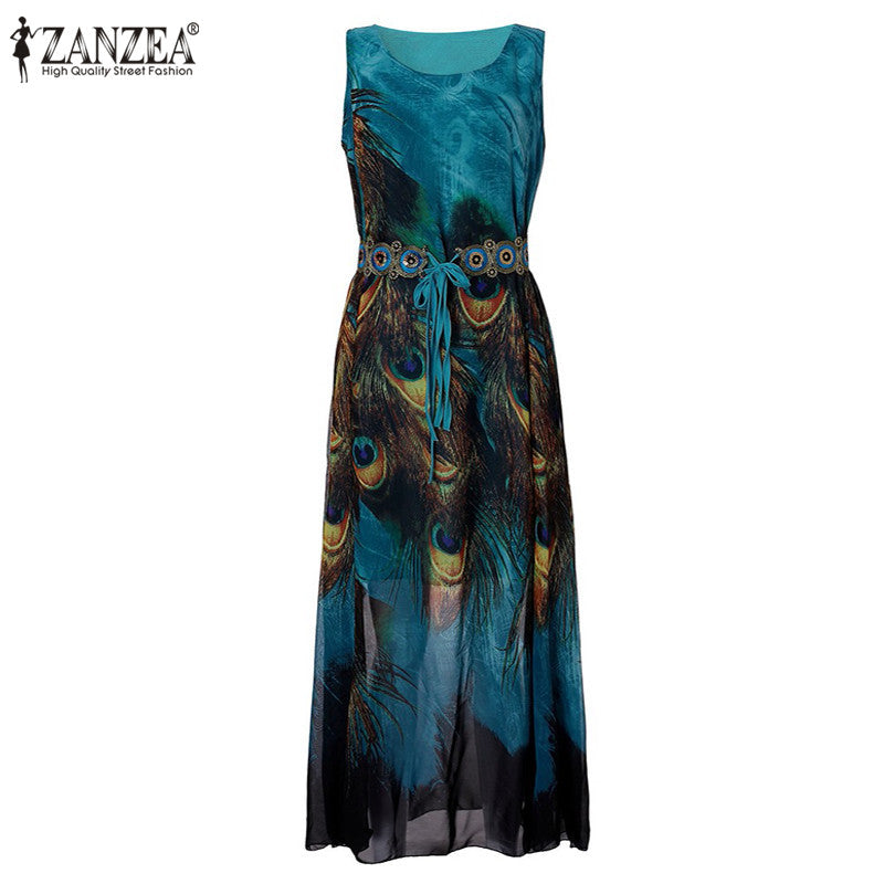 ZANZEA Oversize Womens Boho Chiffon Peacock Floral Sleeveless  Beach Tunic Long Maxi Dress Sundress