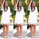 Plus Size S - 6XL Women Summer Dress Fashion Half Sleeve Loose Lace Dress 2018 White O-neck Women Dress