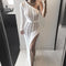 New Knitting Long Dress Women One Shoulder Maxi Dress Sexy Hollow Out High Split Club Party Dresses Sweater Vestido