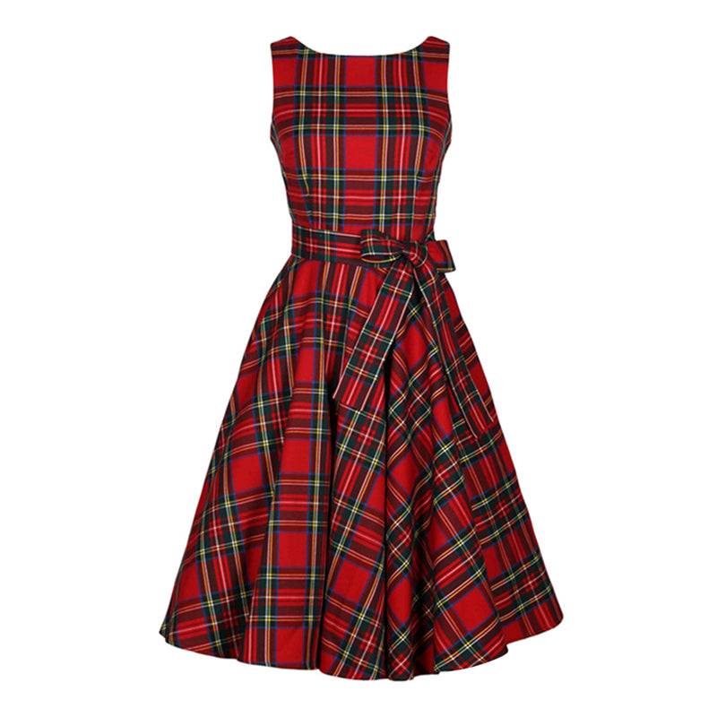 0e10c2a50e ... Women O Neck Red Tartan Checks Plaid Dress Retro Vintage 50s 60s Pin Up  Rockabilly Swing ...