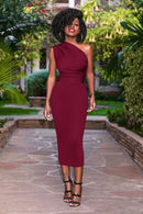 Women One Shoulder Sleeveless Bodycon Party Slim Fit Pencil Dress Ladies Summer Solid Sheath Mid-Calf Dresses
