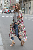 Women Long Chiffon Kimono Cape Cardigan Blusa Feminina Casual Shirts Jackets Long Beach Cover Up Tops blusa femin