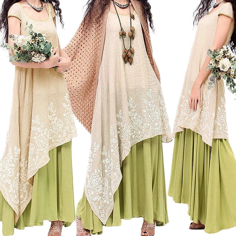 Women Maxi Dress Plus Size 3XL 4XL 5XL Floral Embroidery Vintage Cotton Dress Casual Loose O Neck Two Layers Bohemian Long Dress