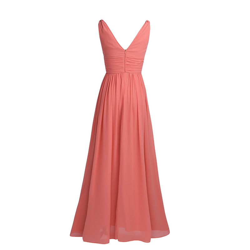 Women Long Maxi Dress Sleeveless Empire Chiffon Summer Dress Vestidos De Fiesta A-Line Bridesmaid Long Dress Wedding Party