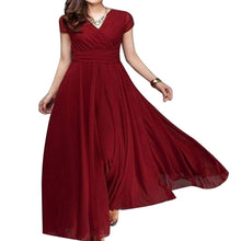 CALOFE Women Chiffon Dress Plus Size 5XL Casual Boho Solid Short Sleeve V-Neck Vestidos Summer Vintage Party Long Maxi Dress