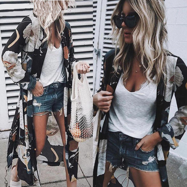 Women Floral Loose Kimono Cardigan Boho Beach Chiffon Tops Long Sleeve  Blouse