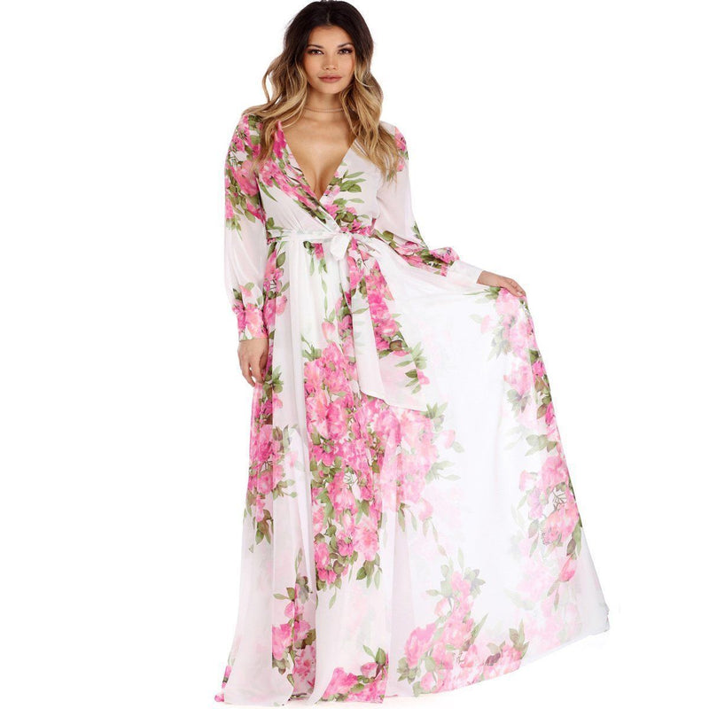 Fashion Women Casual Slim Lace up Sexy Deep V Lady Boho Floral Print Beach Dress Lady Long Sleeve Long Maxi Dress