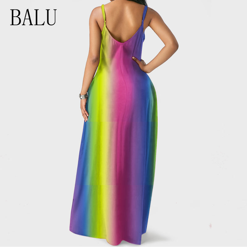 Tie Dye Rainbow Print Long Dress Women Straps V Neck Sleeveless Pockets Boho Maxi Dress Summer Beach Dresses Party Vestidos