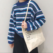 Harajuku Clarissa Sweater Women Oversized Crop Knitted Pullover Sweater Blue & White Stripe Embroidered LOGO UNI* Street Style