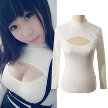 Japanese Open Chest Shirt Women Sexy Anime Keyhole Sweater Feminino Tight Turtleneck Long-Sleeve Women Sweaters and Pullovers
