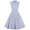 Kenancy 1960s Audrey Hepburn Swing Rockabilly Vintage Dress Plus Size Blue Stripe Print Ruffles Retro Dress Party Vestidos 4XL