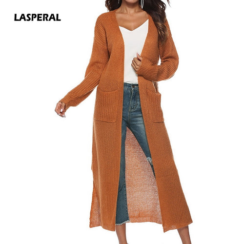 LASPERAL 2018 New Autumn Winter Women Long Sleeve Knitwear Kimono Warm Sweater Cardigans Solid Color Knitted Outerwear Plus Size