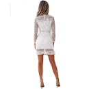 Lace Spring mini dress Women long sleeve Elegant fashion bodycon dress Sexy Turtleneck Hollow white Patchwork pencil party dress