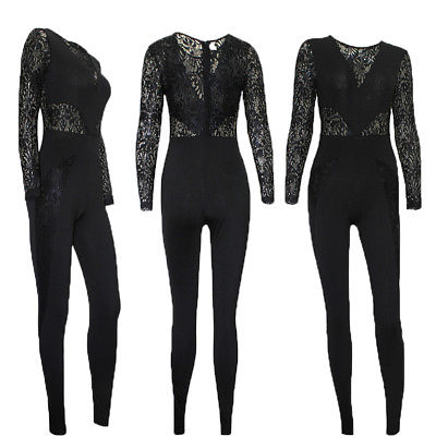Long Sleeve Jumpsuit Women Clubwear Summer Playsuit Bodycon Party Lace Top Rompers Womens Jumpsuit Romper Trousers Long Pants