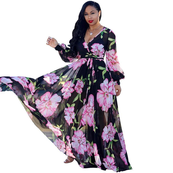 MIXI Boho Chiffon Printed Long Dress Women Full Sleeve V Neck Belted Elegant Party Dresses Vintage Loose Summer Beach Maxi Dress