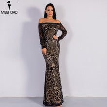 Missord 2018 Sexy slash neck long sleeve sequin maxi dress FT8249