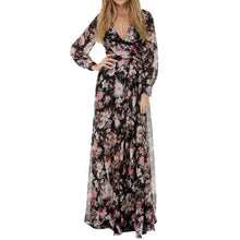 NIBESSER V-Neck Dress Women Long Sleeve Bohemia Beach Party Floral Printed Long Dress Casual Runway Maxi Dresses Plus Size 3XL