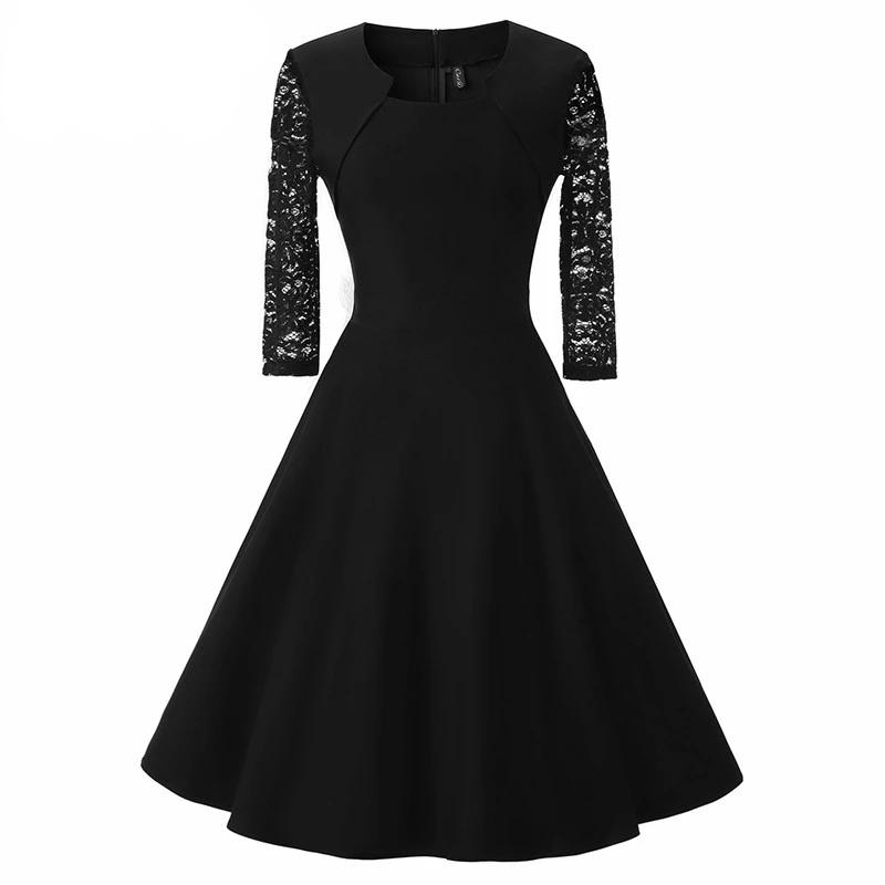 Women Elegant 3/4 Sleeve Patchwork A-line Dress Square Collar Midi Party Lace Swing Dress