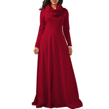 New Women Maxi Long kaftans Dress Long Sleeve Turtleneck Solid Ladies Autumn Casual Party Vestidos Vintage Robe Drap Dress 2018
