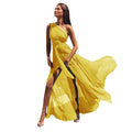 One off shoulder tie waist high slit maxi dress Women elegant formal dress Ladies party long chiffon Dresses robe femme vestidos