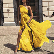 New Fashion Solid Sexy Big Swing Chiffon Dress One Shoulder Max Long Dress Plus Size Sashes Boho Beach Dresses ZB333
