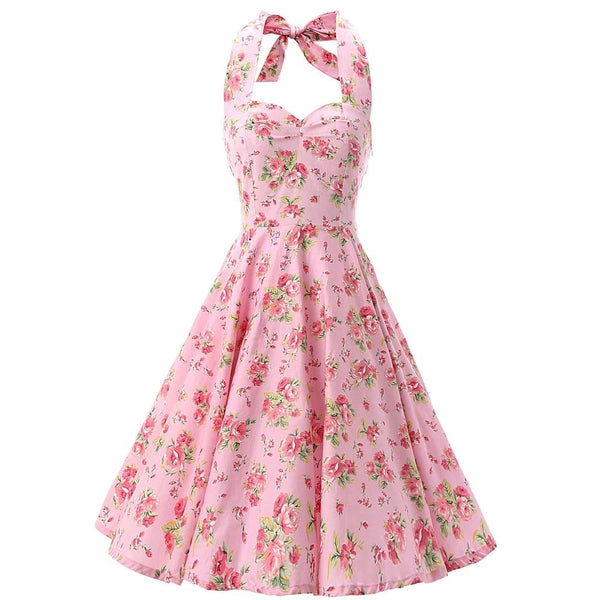 Pink Women Dress Rockabilly Floral Print Retro Vintage 60s Sexy Party Dress Pinup Swing Hepburn Summer Dress Plus Size
