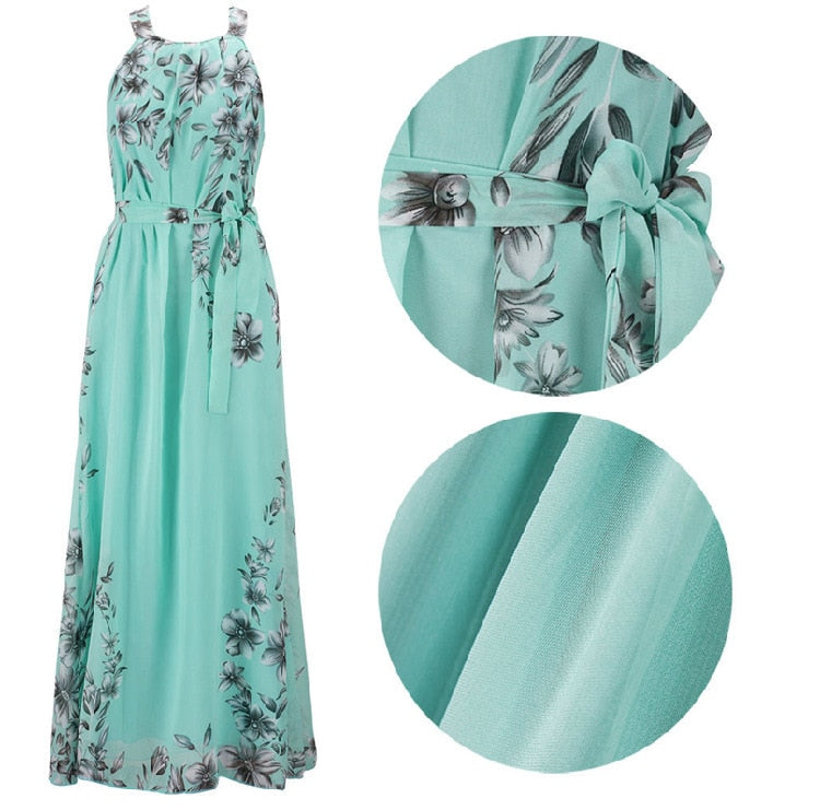 Plus Size S-6XL Summer New Women Long Dresses Beach Floral Print Boho Maxi Dress With Sashes Women Clothing D86001L